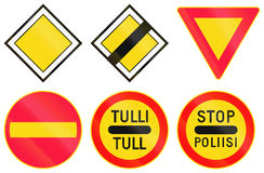 Warning Road Signs In Finland Stock Photos