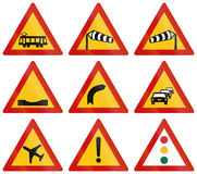 Warning Road Signs In Greece Stock Images