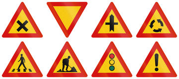 Warning Road Signs In Iceland Royalty Free Stock Photo
