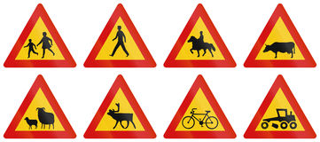 Warning Road Signs In Iceland Stock Images
