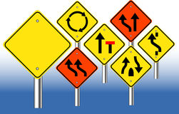 Warning road signs Stock Photo