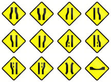 Warning Road Signs In Indonesia. Collection of Warning road signs in Indonesia Stock Photo