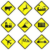 Warning Road Signs In Indonesia Royalty Free Stock Photos
