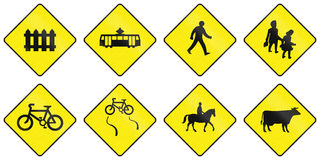 Warning Road Signs In Ireland Royalty Free Stock Image