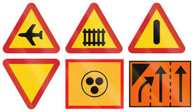 Warning Road signs used in Sweden Royalty Free Stock Image