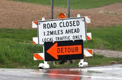 Warning roadway sign Stock Photo