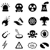 Warning, safety and danger signs. Icon set Royalty Free Stock Photography