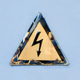 Warning safety sign Danger of electric shock. Royalty Free Stock Photo