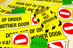 Warning safety stickers. Various warning safety stickers and labels Stock Images