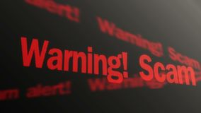 Warning, scam alert text running on PC display. Data theft prevention, security