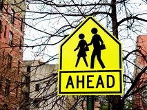 Warning School Crossing Children Sign. Warning School Crossing Children or kids Sign Royalty Free Stock Photo