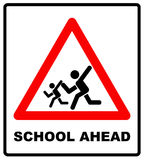 Warning school sign. Vector traffic symbol in red triangle isolated white, School crossing ahead. Slow motion, children Stock Photography