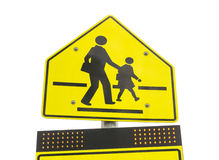 Warning school zone sign  isolated on white background Royalty Free Stock Images