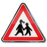 Warning schoolchildren. And safe school way Stock Photo