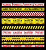 Warning, security and caution ribbons and tapes Royalty Free Stock Photo