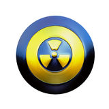 Warning shield. Illustration of a metallic shield with the sign of radioactive danger stock illustration