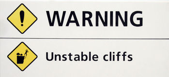 Warning sign. About unstable cliffs in Australia Royalty Free Stock Images