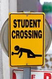 Warning sign. Warning yellow sign with text Drunken students crossing Royalty Free Stock Images