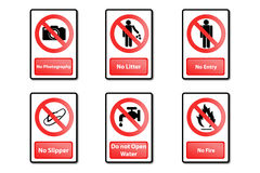 Warning sign. 6 type for any place Royalty Free Stock Photos