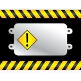 Warning sign. On a polish metal plate Stock Photography