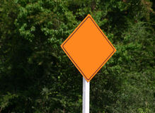 Warning Sign. Blank road construction sign stock image