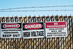 Warning sign 2. Warning signs restricting access an area containing high voltage equipment Royalty Free Stock Photography