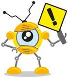 Warning sign. Illustration of warning sign created in cartoon robot character Royalty Free Stock Photo