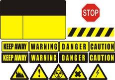 Warning sign. A warning sign with various warning symbols and messages Royalty Free Stock Image