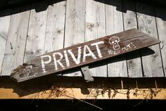 Warning sign. Private warning sign from child. Secret club sign Stock Photo