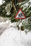 Warning sign. Children warning sign on a forest road Stock Images
