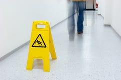 Warning sign. For slippery floor Stock Image