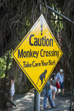 Warning sign against monkeys crossing the road Royalty Free Stock Photo