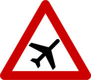 Warning sign with airplane Royalty Free Stock Image