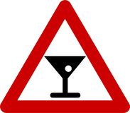 Warning sign with alcohol royalty free illustration