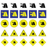 Warning sign of animal in farm across the road Royalty Free Stock Photo