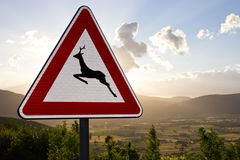 Warning sign - animals. A warning sign against a picturesque valley Stock Photos