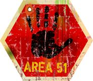 Warning sign area 51 Stock Photos