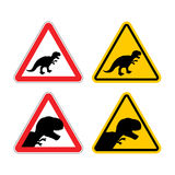 Warning sign of attention dinosaur. Royalty Free Stock Images