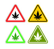 Warning sign attention drugs. Dangers of marijuana and yellow si royalty free illustration