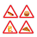 Warning sign of attention fast food. Dangers red sign hamburger. Stock Image