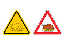 Warning sign of attention roasted turkey. Dangers yellow sign cr Stock Image