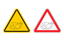 Warning sign of attention roasted turkey. Dangers yellow sign cr Royalty Free Stock Photos