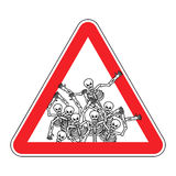 Warning sign of attention sinners. Dangers red sign dead. Skelet Stock Photo
