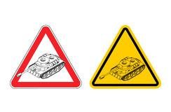 Warning sign of attention War. Dangers yellow sign army. Tank Stock Photo
