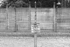 Warning sign at Auschwitz stock photo