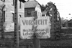 Warning sign at Auschwitz Royalty Free Stock Photo