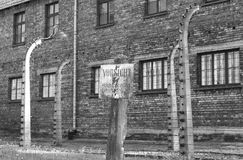 Warning sign at Auschwitz royalty free stock image