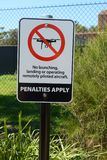 No drones sign in Australia prohibiting launching, landing, or operating remotely piloted aircraft. Warning sign in Australia prohibiting the use of drones via Royalty Free Stock Photos