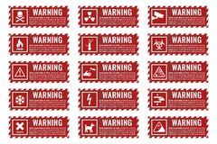 Warning sign banner with danger text. Signs warning of the danger - fire, high voltage, toxic, temperature Stock Photo