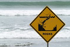 Warning sign on the beach Royalty Free Stock Photos
